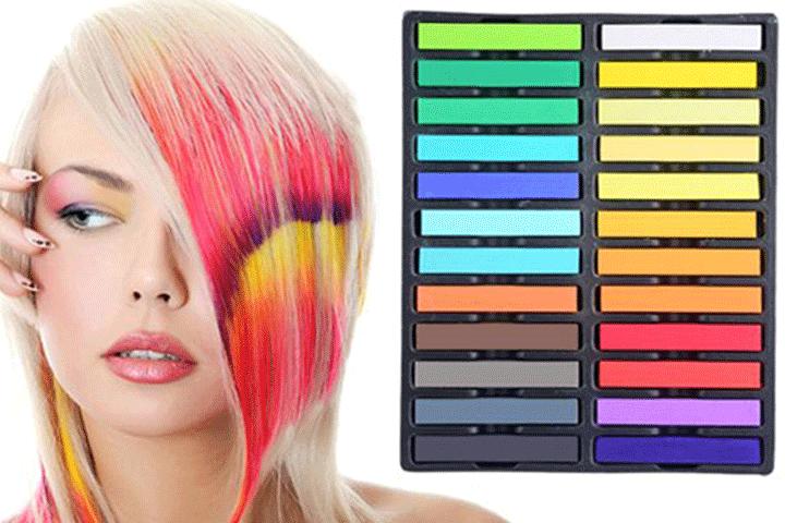 Hårkritor i 24 olika färger