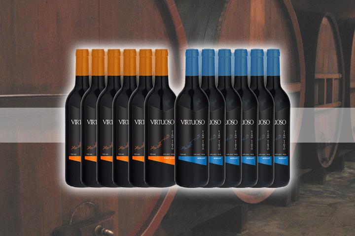 Image of   Nyd et velsmagende glas rødvin med 12 flasker skøn, spansk Virtuoso rødvin