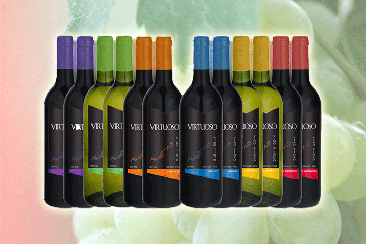 Image of   12 bottles of Mixed Virtuoso wine, red and white