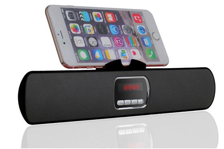 Image of   Hør god musik fra din telefon trådløst via kraftfuld og stilfuld Bærbar Bluetooth højtaler