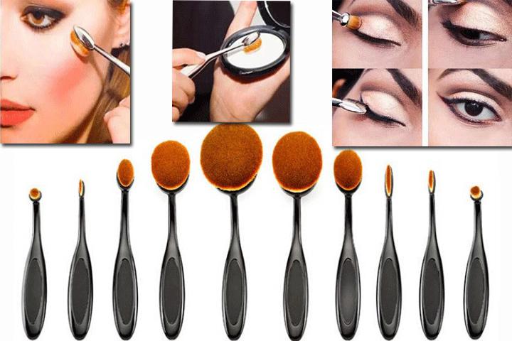 Oval brush make up børste sæt med 10 stk. oval børster