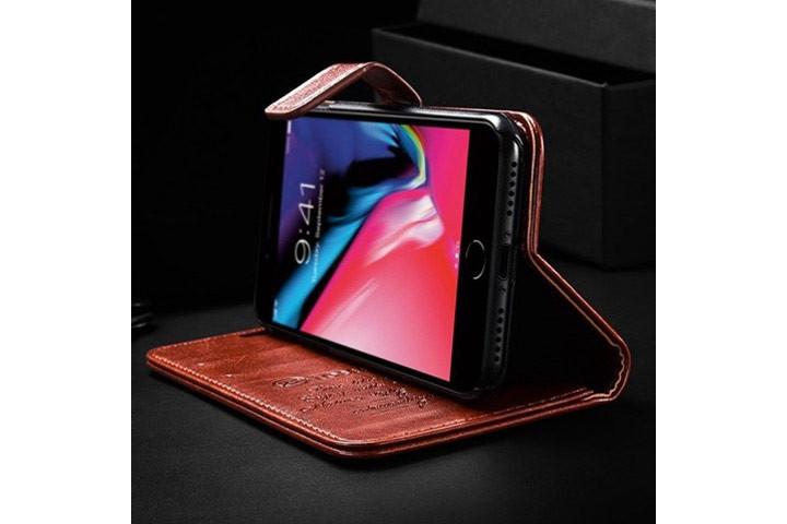 PU lædercover til iPhone eller Samsung med ståfunktion - mobilcover og pung i én2
