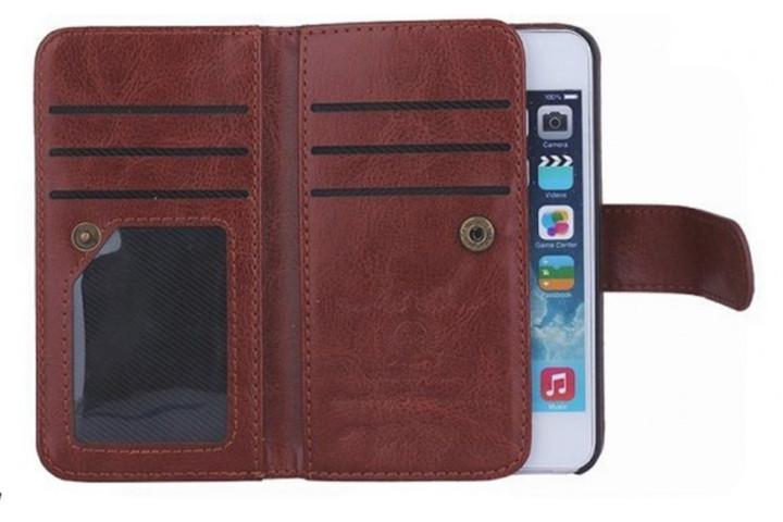 2-i-1 magnetisk PU-lædercover til iPhone og Samsung med plads til kort, sedler og billede2