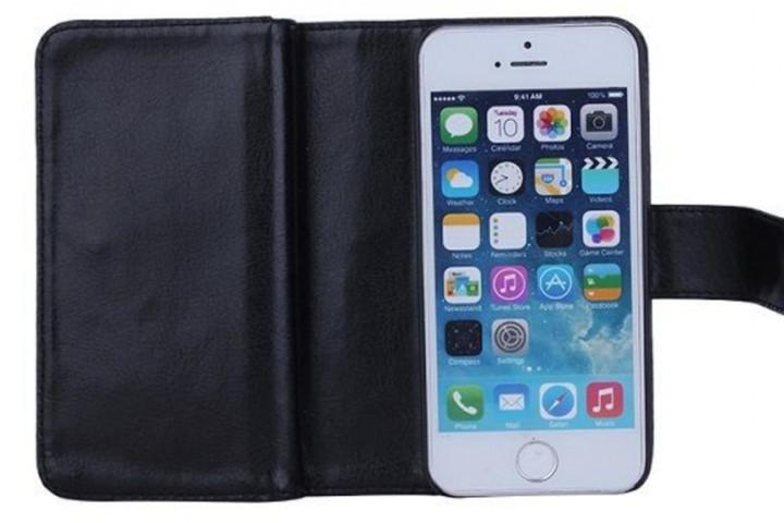2-i-1 magnetisk PU-lædercover til iPhone og Samsung med plads til kort, sedler og billede3