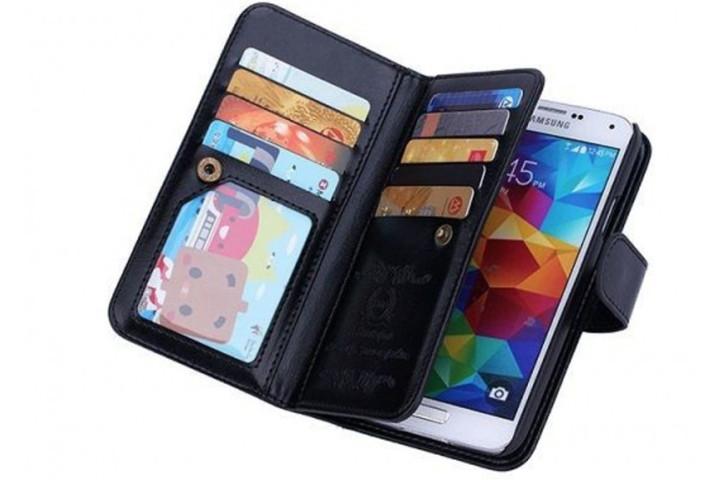 2-i-1 magnetisk PU-lædercover til iPhone og Samsung med plads til kort, sedler og billede1