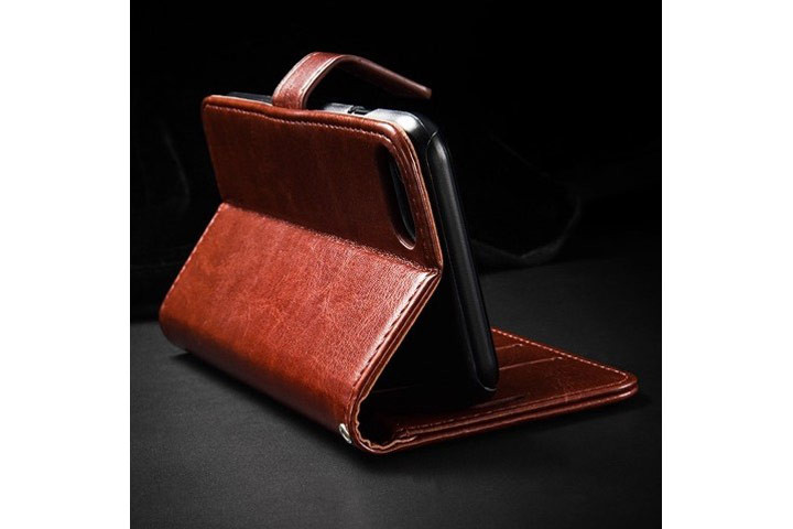 PU lædercover til iPhone eller Samsung med ståfunktion - mobilcover og pung i én3