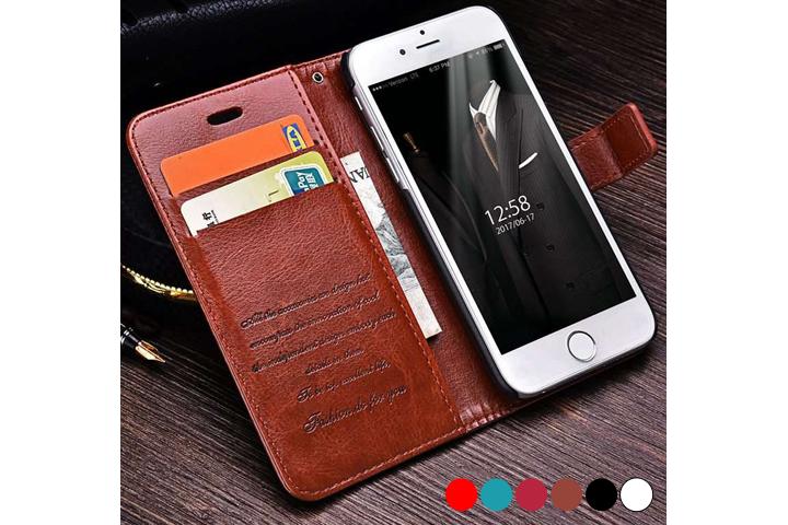 PU lædercover til iPhone eller Samsung med ståfunktion - mobilcover og pung i én1