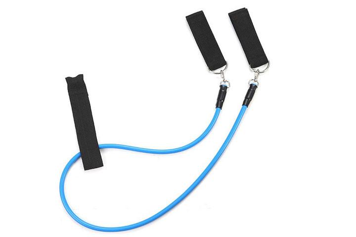 De elastiske træningsbånd giver en modstand på mellem 4,5 og 13, 6 kg3