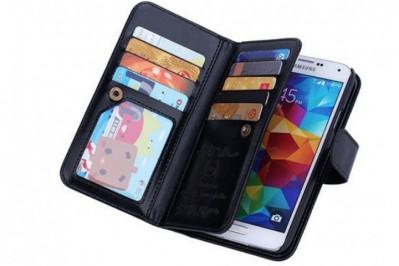 2-i-1 magnetisk PU-lædercover til iPhone og Samsung med plads til kort, sedler og billede.
