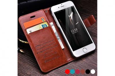 PU lædercover til iPhone eller Samsung med ståfunktion - mobilcover og pung i én