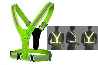 Unisex refleksvest med LED-lys i neon-grøn
