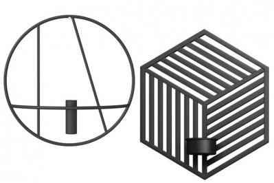 Væghængte lysestager- rund eller sekskantet