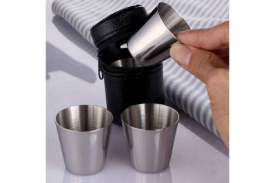 Shot glas i rustfrit stål (8 stk.) og etui (2 stk.)