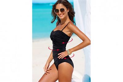 Shapewear badedragt, der strammer specielt godt op om maveområdet og giver en flot timeglas figur