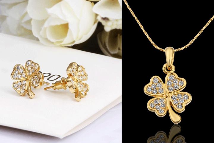 Image of   Flot og elegant firkløver-smykkesæt