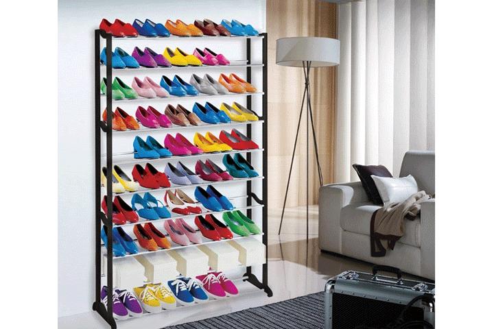 Image of   Praktisk skohylde i diskret design med plads til 50 par sko